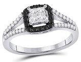 1/2 Carat (ctw I2-I3, I-J) White and Black Diamond Cluster Ring in 10K White Gold