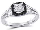 1/2 Carat (ctw I2-I3, I-J) White and Black Diamond Cluster Ring in 10K White Gold