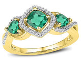 1.37 Carat (ctw) Lab Created Emerald Ring in 10K Yelllow Gold with Diamonds 1/10 Carat (ctw G-H, I2)
