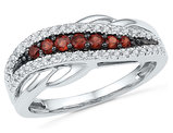 1/3 Carat (ctw) Lab Created Garnet band Ring in 10K White Gold with Accent Diamonds