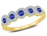1/3 Carat (ctw) Lab Created Blue Sapphire Ring in 10K Yelow Gold with Diamonds 1/4 Carat (ctw I2-I3)