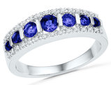 7/8 Carat (ctw) Lab Created Blue Sapphire Ring in 10K White Gold with Accent Diamonds 1/10 Carat (ctw)