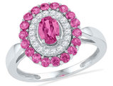 1.75Carat (ctw) Lab Created PInk Sapphire Ring in 10K White Gold with Diamonds 1/5 Carat (ctw G-H, I1-I2)
