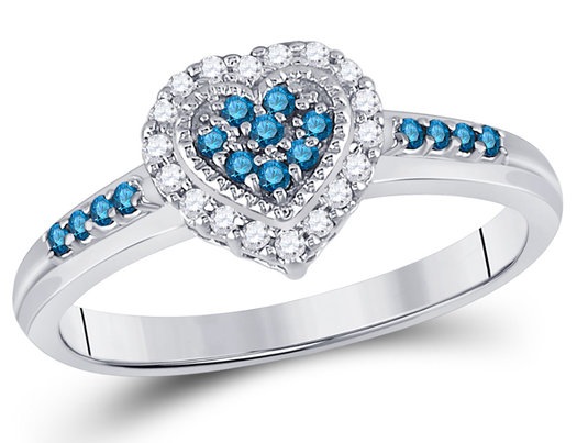 1/4 Carat (ctw) Blue and White Diamond Heart Promise Ring in 14K White Gold