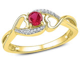 1/8 Carat (ctw) Lab Created Ruby Heart Ring in 10K Yellow Gold with Accent Diamonds