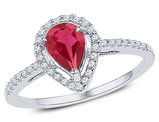 7/8 Carat (ctw) Lab Created Ruby Teardrop Ring in 10K White Gold with Diamonds 1/5 Carat (ctw)