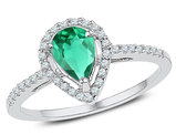 3/4 Carat (ctw) Lab Created Emerald Teardrop Ring in 10K White Gold with Diamonds 1/5 (ctw I2-I3)