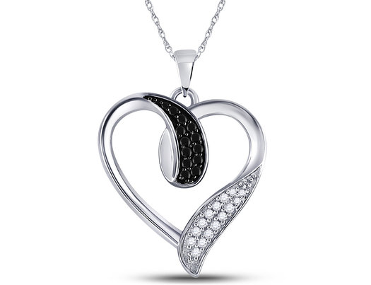 1/5 Carat (ctw) Enhanced Black and White Diamond Heart Pendant Necklace in 10K White Gold