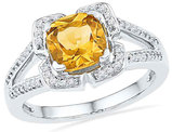 1.50 Carat (ctw) Lab Created Citrine Ring in 10K White Gold with Diamonds 1/8 Carat (ctw J-K, I2)