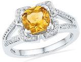 1.50 Carat (ctw) Lab Created Citrine Ring in 10K White Gold with Diamonds 1/8 Carat (ctw J-K, I2)