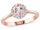 4/5 Carat (ctw) Morganite Halo Ring in Rose Pink Sterling Silver with 1/10 Carat (ctw) Diamonds