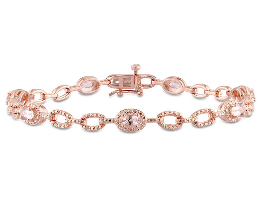 1 3/8 Carat (ctw) Morganite Bracelet in Rose Plated Sterling Silver
