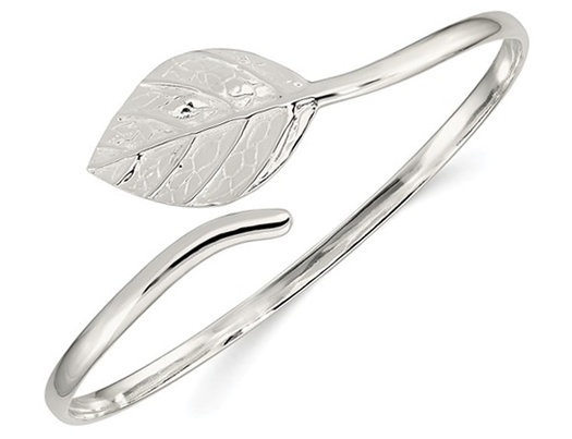 Sterling Silver Leaf Textured Polished Bangle Bracelet