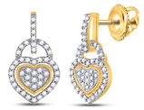 1/3 Carat (ctw J-K, I2-I3) Diamond Heart Earrings in 10K Yellow Gold