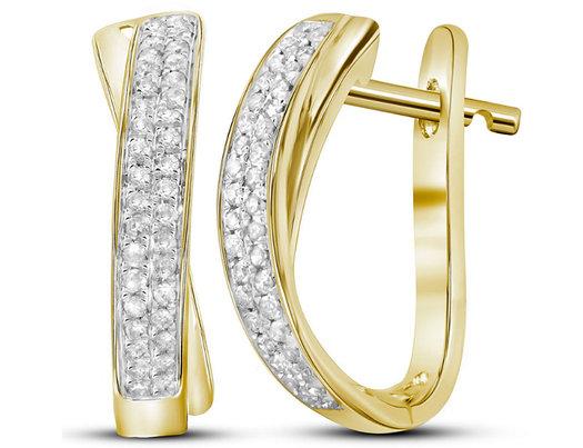 1/6 Carat (ctw I-J, I2-I3) Diamond Hoop Earrings in 10K Yellow Gold