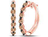 1.00 Carat (ctw I2-I3) Champagne Brown Diamond Hoop Earrings in 14K Rose Pink Gold