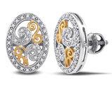 1/6 Carat (ctw I2-I3) Diamond Oval Earrings in Sterling Silver