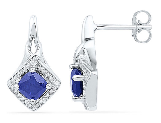 2.00 Carat (ctw) Lab Created Blue Sapphire Earrings in 10K White Gold with Diamonds 1/6 Carat (ctw)