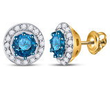 1/2 Carat (ctw I2-I3) Blue and White Diamond Stud Earrings in 10K Yellow Gold