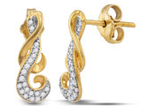 1/6 Carat (ctw H-I, I1-I2) Diamond Cluster Curl Earrings in 10K Yellow Gold