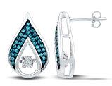 1/5 Carat (ctw I2-I3) Blue and White Diamond Teardrop Earrings in 10K White Gold