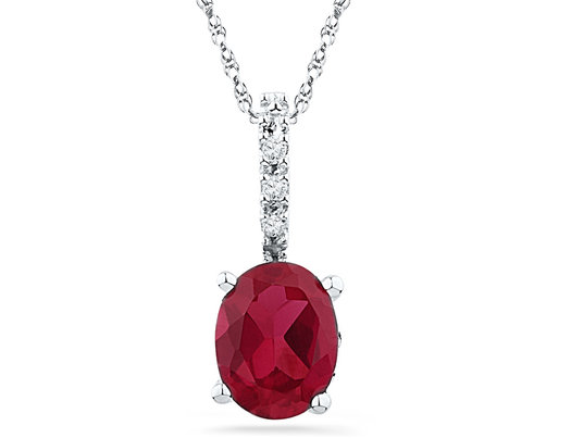 1.00 Carat (ctw) Lab Created Solitaire Ruby Pendant Necklace in 10K White Gold with Chain
