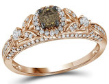 3/4 Carat (ctw I2-I3) Champagne Brown Diamond Engagement Flower Ring in 14K Rose PInk Gold