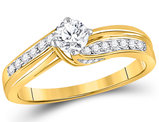 1/2 Carat (ctw G-H, I1-I2) Diamond Engagement Ring in 14K Yellow Gold