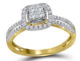 1/2 Carat (ctw I-J, I2-I3) Princess Cut Diamond Engagement Ring in 14K Yellow Gold