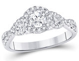 1/2 Carat (ctw G-H, I2) Diamond Solitaire Twist Engagement Ring in 14K White Gold