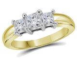 5/8 Carat (ctw G-H, Si2-I1) Three Stone Princess Cut Diamond Anniversary Ring in 14K Yellow Gold