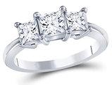 1.50 Carat (ctw H-I, I1) Three Stone Princess Cut Diamond Anniversary Ring in 14K White Gold