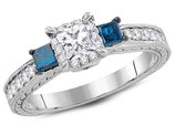 1.00 Carat (ctw I1-I2, G-H) Three Stone Blue and White Diamond Engagement Ring in 14K White Gold