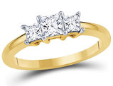 7/8 Carat (ctw H-I, I1) Three Stone Princess Cut Diamond Anniversary Ring in 14K Yellow Gold