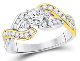 1.00 Carat (ctw I1-I2, H-I) Diamond Engagement Twist Ring in 14K White and Yellow Gold