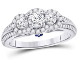 1.10 Carat (ctw SI3-I1, G-H) Three Stone Diamond Engagement Ring in 14K White Gold