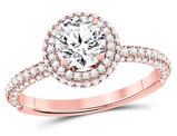 1.65 Carat (ctw SI3-I1, G-H-I) Diamond Solitaire Double Halo Engagement Ring in 14K Rose Pink Gold (1 CT. center)