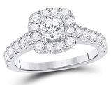1.50 Carat (ctw G-H, I1-I2) Diamond Engagement Bridal Halo Ring in 14K White Gold