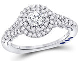 2/3 Carat (ctw G-H, I1-I2) Diamond Engagement Step Halo Ring in 14K White Gold