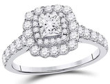 1.20 Carat (ctw I1-I2, G-H) Princess Cut Diamond Engagement Step Halo Ring in 14K White Gold