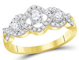 3/4 Carat (ctw I1-I2, H-I) Three Stone Diamond Engagement Ring in 10K Yellow Gold