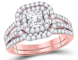1.50 Carat (Color G-H, I1) Princess Cut Diamond Engagement Ring Bridal Wedding Set in 14K Rose Pink Gold