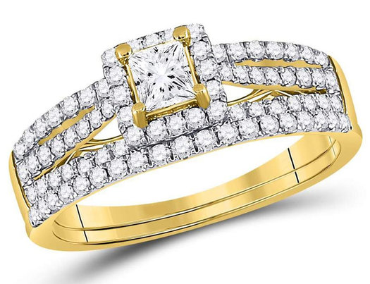 1.00 Carat (Color G-H, I1) Princess Cut Diamond Engagement Ring Wedding Set in 14K Yellow Gold