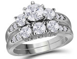 2.00 Carat (Color G-H, I1) Three Stone Diamond Engagement Ring Bridal Wedding Set in 14K White Gold
