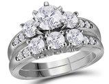 2.00 Carat (Color G-H, I1) Three Stone Diamond Engagement Ring Bridal Wedding Set in 14K White Gold