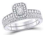 1.00 Carat (Color G-H,SI2-I1) Emerald Cut Diamond Engagement Ring Wedding Band Set in 14K White Gold