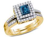7/8 Carat (Color H-I, I1-I2) Princess Cut Blue Diamond Engagement Ring Bridal Wedding Set in 14K Yellow Gold