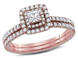 3/4 Carat (G-H, I1-I2) Princess Cut Diamond Engagement Ring Bridal Wedding Set in 14K Rose Pink Gold