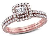 3/4 Carat (G-H, I1-I2) Princess Cut Diamond Engagement Ring Bridal Wedding Set in 14K Rose Pink Gold