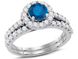 1 7/8 Carat (H-I, I2-I3) Blue Diamond Engagement Ring Bridal Wedding Set in 14K White Gold